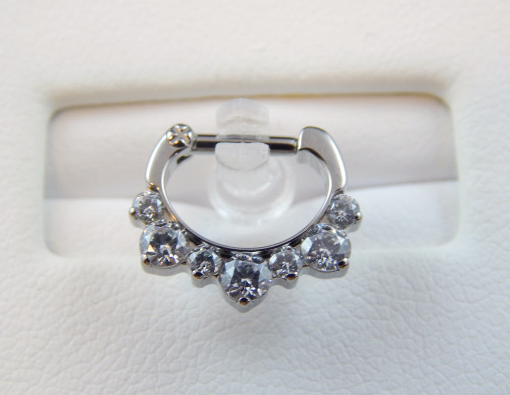 Industrial strength odyssey helios clicker 7 gems 16g 1 for Industrial strength body jewelry