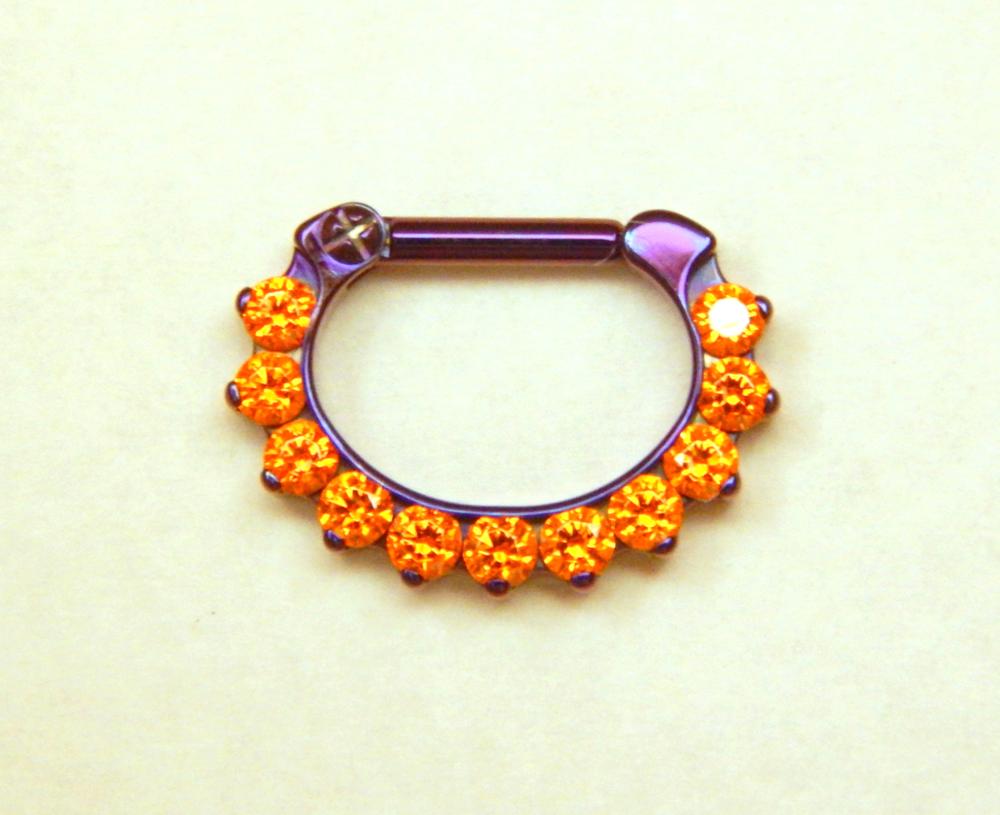 16g 1 4 x 1 4 odyssey clicker 11 gem titanium anodized for Industrial strength body jewelry