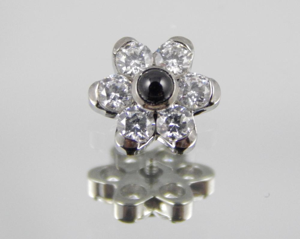 white swarovski cz & genuine black onyx