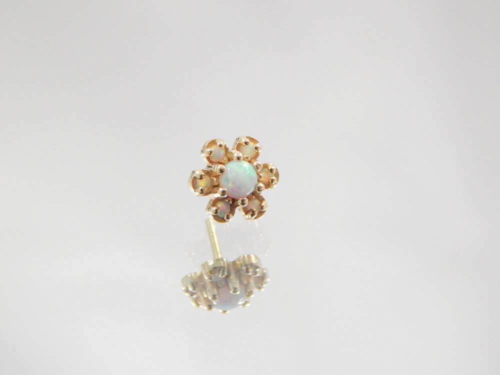 daisy flower w/ 1.25mm synthetic white opals  DT086  piercing locations: nostril, lip(labret), cartilage(conch, helix, tragus)