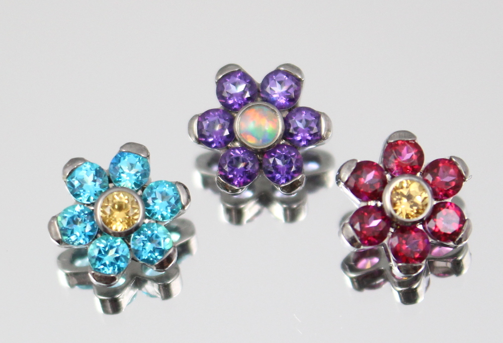 genuine topaz gems - Paraiba & Honey   -   Violet (w/ synthetic white opal)   -   Blazing Red & Honey
