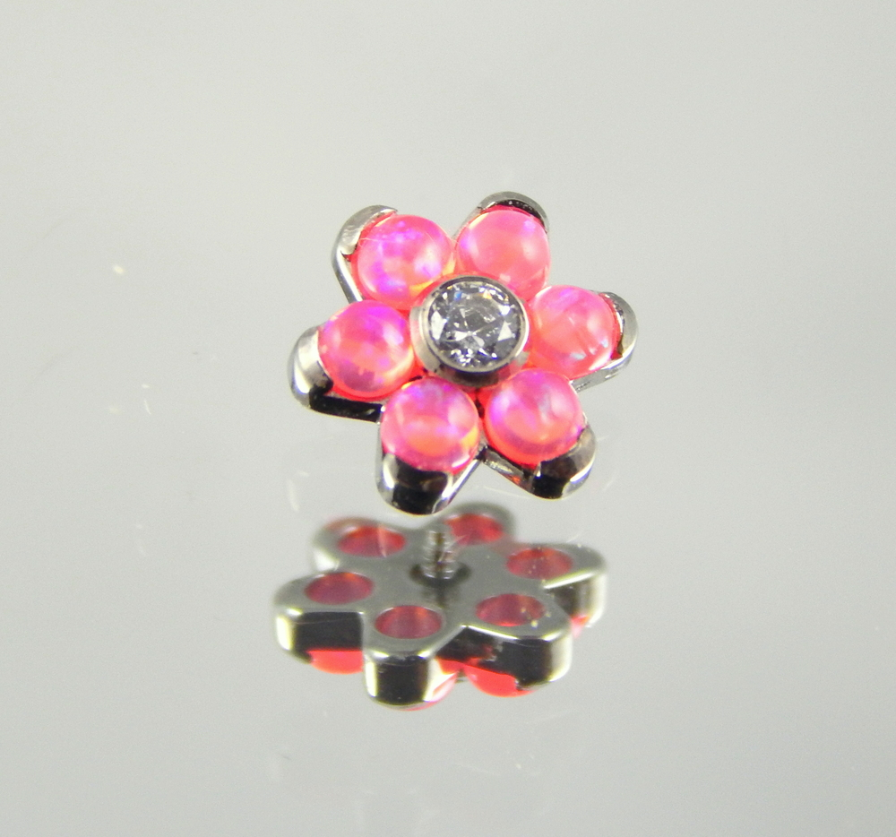 synthetic hot pink opal & white swarovski cz