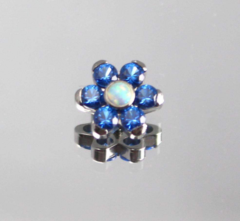 sapphire blue swarovski cz & synthetic white opal