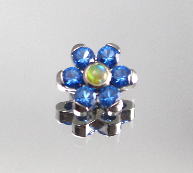 sapphire blue swarovski cz & synthetic yellow opal