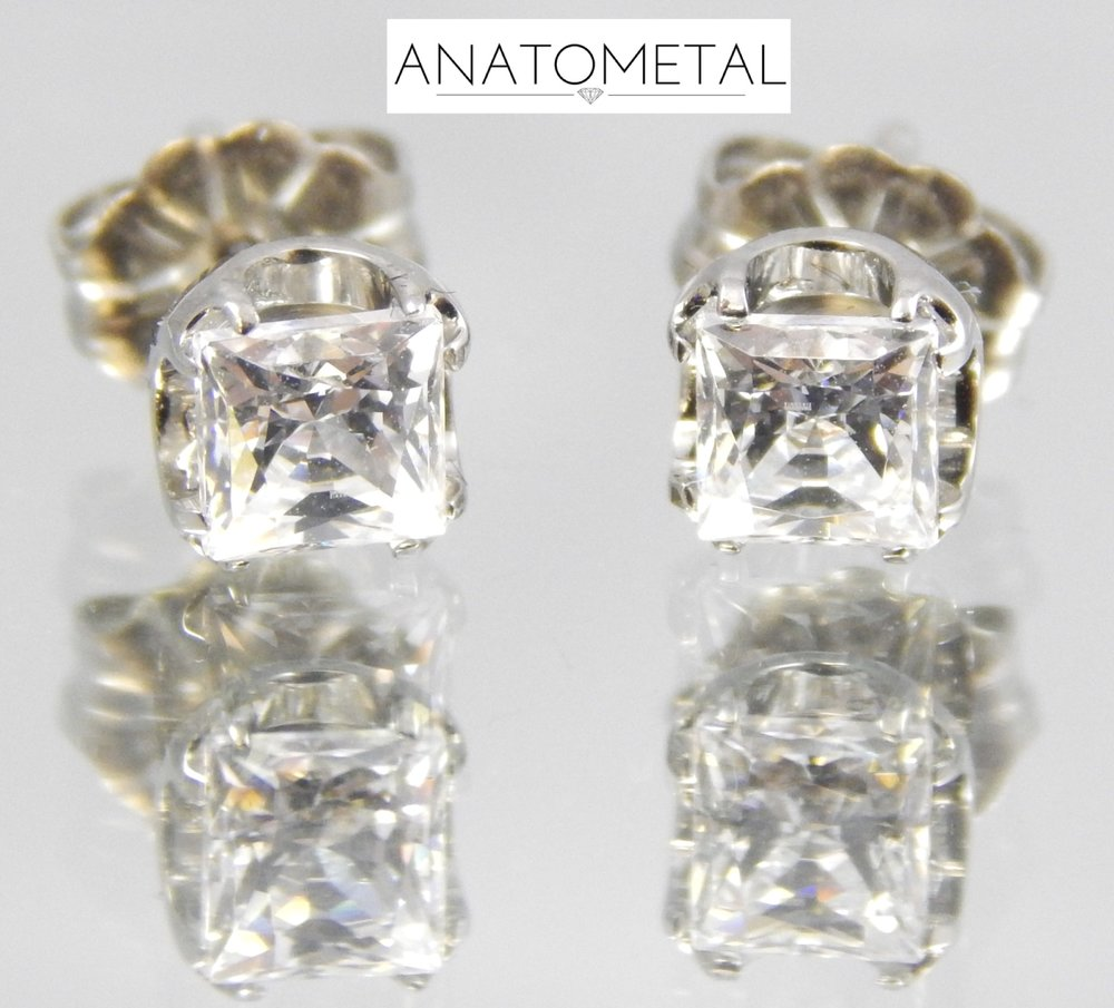 High Polish Titanium                                                                     Standard 22g Earrings w/ White Swarovski CZ's