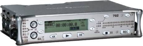 """The 702 two-track file-based digital audio recorder is designed for applications where high-resolution audio capture is essential in a portable, durable device. This compact recorder is known for pleasant-sounding, low-noise microphone preamplifiers, and the ability to record to convenient, removable Compact Flash cards."""