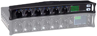 """The CL-6 Input Controller connects to the top or bottom of the 664 and includes 6 full-sized fader controls, PFL control, and highpass control, and dedicated L and R routing buttons for Inputs 7-12. The large, backlit Record and Stop buttons provide convenient access to transport functions."""