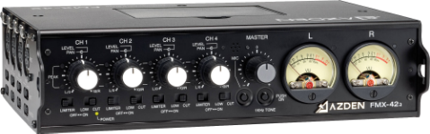 """Having 4 balanced XLR line/mic inputs with individual level and pan controls, the FMX-42a provides switchable (per channel) 48V phantom power and limiting, professional quality VU meters for accurate level setting, master level control, 1k tone generator, 2 balanced XLR outputs (line/mic switchable), stereo mini-jack output for DV cameras, 10-pin Camera Return, mini-jack Camera Return and a headphone monitor with level control."""