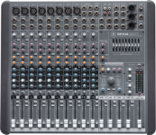 """Mackie's CFX.mkII Series compact live sound mixers feature genuine Mackie mic preamps, four subgroups, precise nine-band stereo graphic equalizers for greater sonic control, and onboard EMAC™ 32-bit digital effects—eliminating the need for outboard effects processors and cables."""