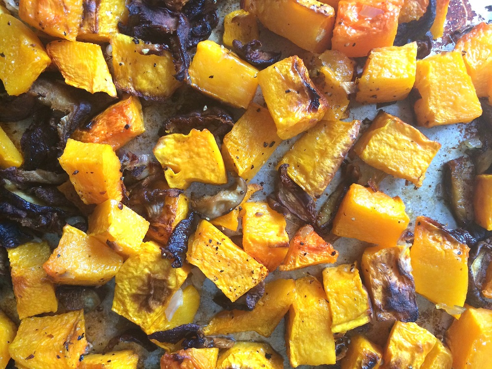 Roasted butternut squash with shiitake mushrooms inspired by  Mario Batali .
