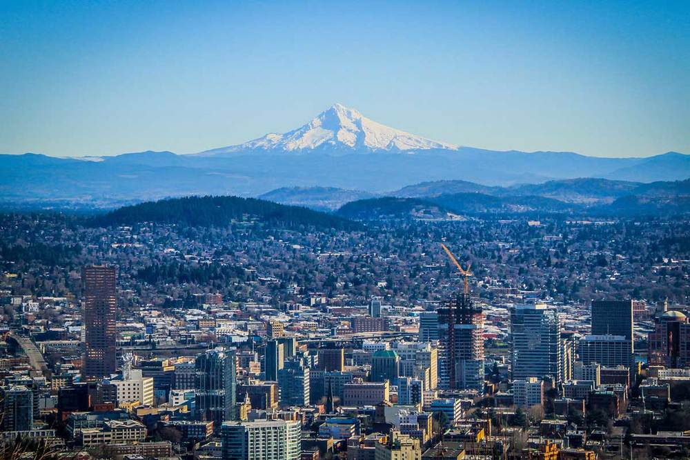 Downtown Portland and Mt. Hood. © Jillian Perez Dudziak