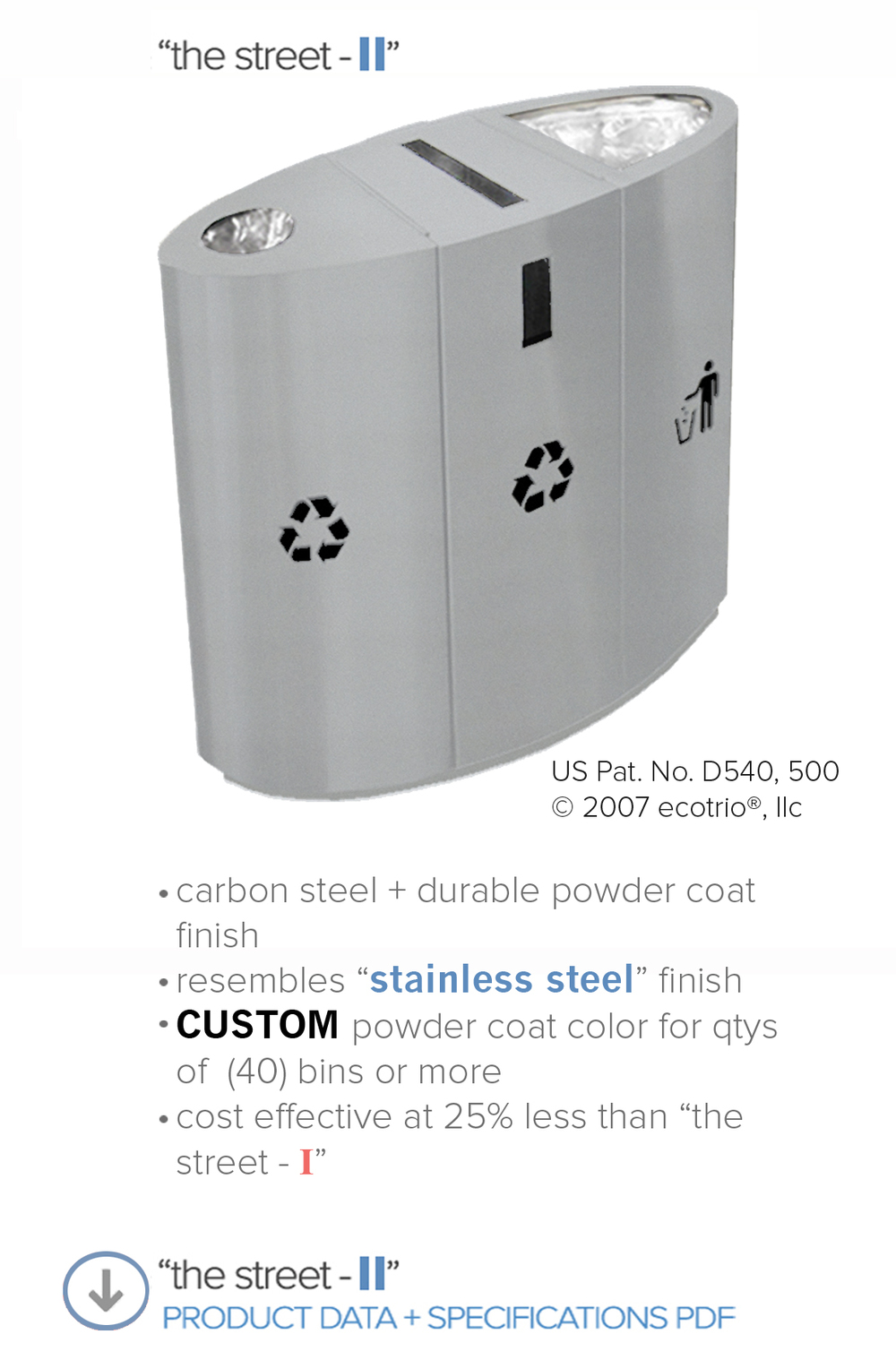 "ecotrio ""the street - II"", ecotrio, elliptical shaped, commercial recycling bins, stainless steel recycle trash and recycling bin, outdoor recycling containers, indoor recycling  bins"