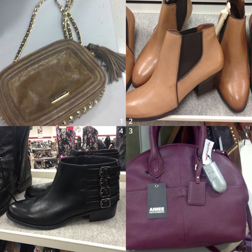 "Clockwise from top left:  1 ""Flirty"" leather bag by Rebecca Minkoff, $99 2 ""Quinne"" caramel leather booties by Franco Sarto, $59 3 ""Steph"" vino leather satchel by Aimee Kestenberg, $179 4 Black leather buckled booties by Franco Sarto, $69"