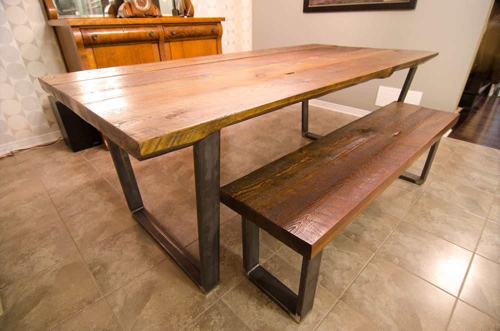 Reclaimed Wood Steel U Shape Table And Bench Urban Tables