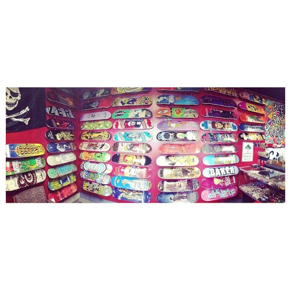 Skateboard wall locked and loaded with tons of sick brands! Come in and giver 'er a look!