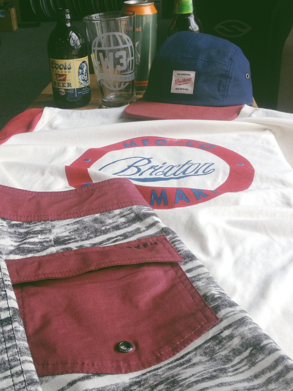 A little sumsum in the spirit of Independence Day! Brixton t-shirt and board shorts teamed with a Huf 5 panel and last but not least.. BOOZE. Have fun and stay safe out there!