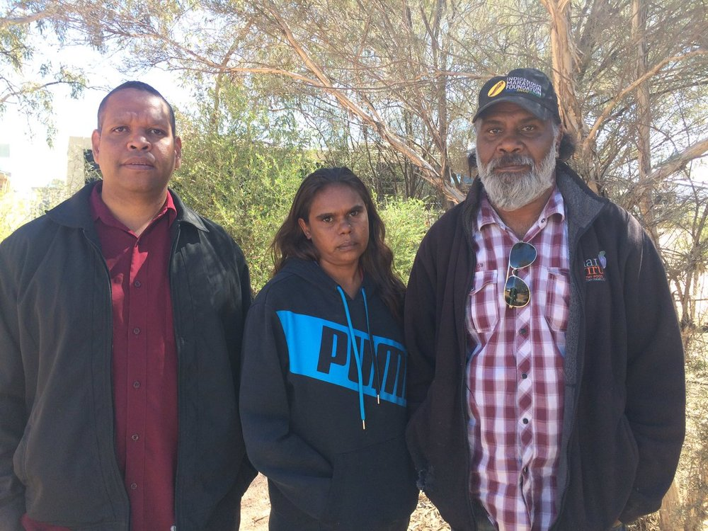 "Tangentyere CEO Walter Shaw, and Town Camp presidents Shirleen Campbell and Robert Hoosan. ""It hurts our hearts to see how our kids come out of detention and what is done to them in there"" - Shirleen Campbell..Photo from ABC Alice Springs."