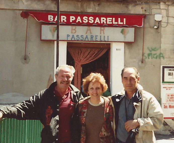 Papa, on the left, at Bar Passarelli in Calabria, Italy