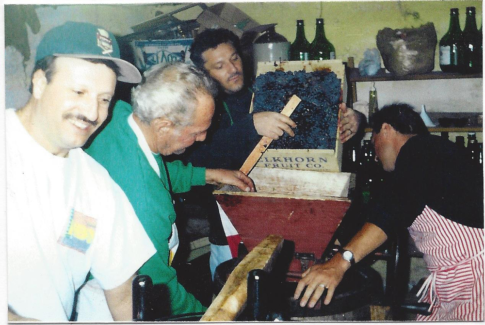 Jimmy Cardinelli playing the acordian while making wine in cellar 1995 copy.jpg