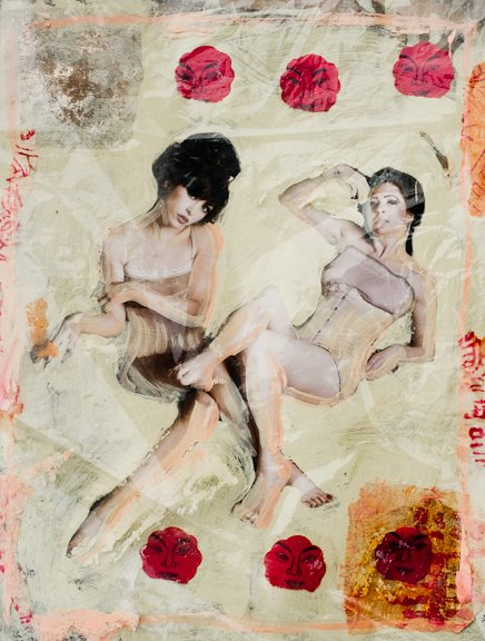 Photo/mixed media art by David Miller. Hair: Andy Tseng, Wardrobe: RAW Textiles.   With another half asian model Lanna