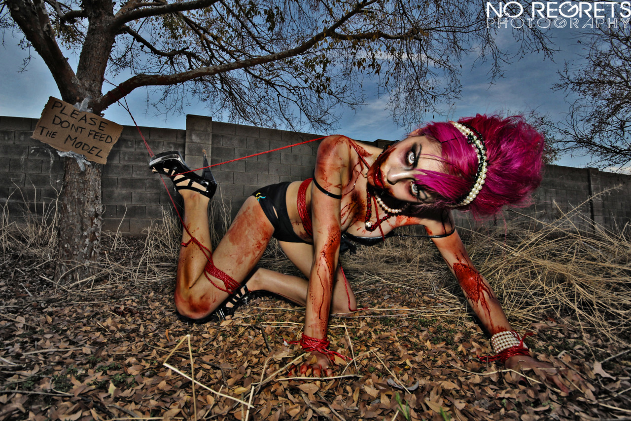 Zombie!!! one of the last shoots I did with pink hair. Shot by No Regrets Photography in my old backyard.