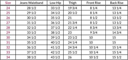 jeans measurement chart: Fit eva paul denim