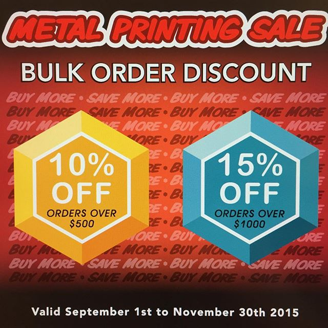 From now until November 30th we'll be offering bulk discounts on all metal orders! 10% on all orders over $500 and 15% on orders over $1000! #metalprinting#dyesub#BuyMoreSaveMore#buylocal #fujifilmhawaii