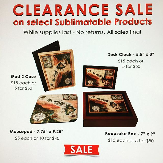 Custom print on any of these products! While supplies last! #hawaiiprintingsource#fujifilmhawaii#clearance#buylocal