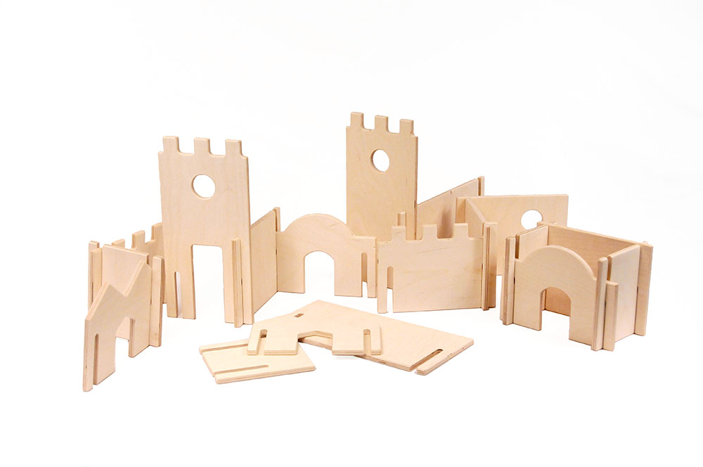 wood castle building blocks playset      this diy modular