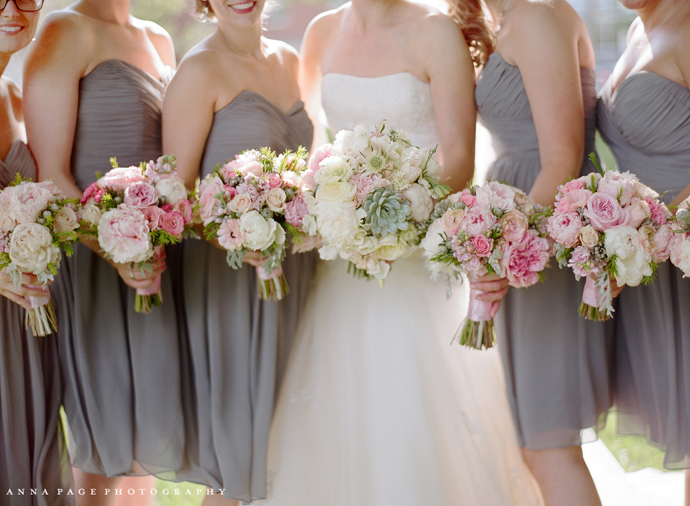 Blush, succulent, pink wedding bouquets