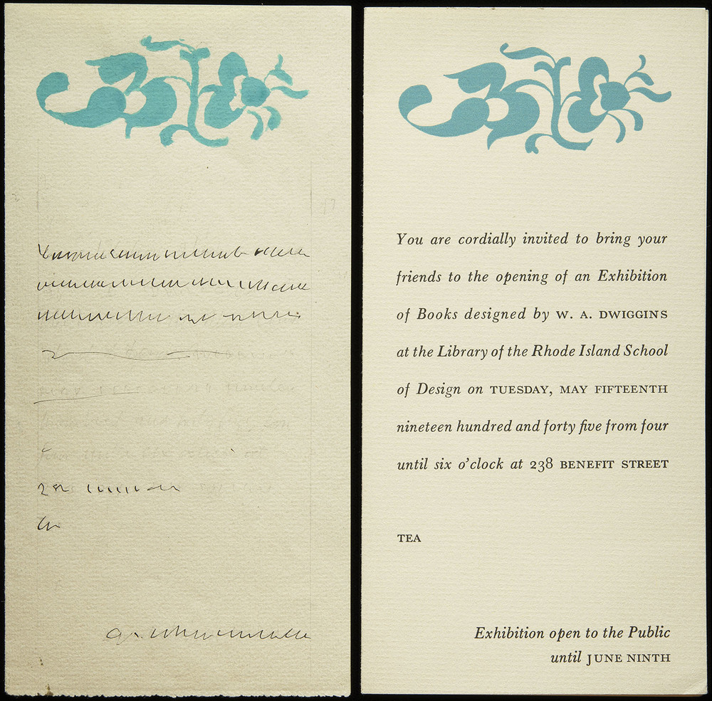 Layout and printed sample of exhibit invitation, 1945, 9 x 18 cm