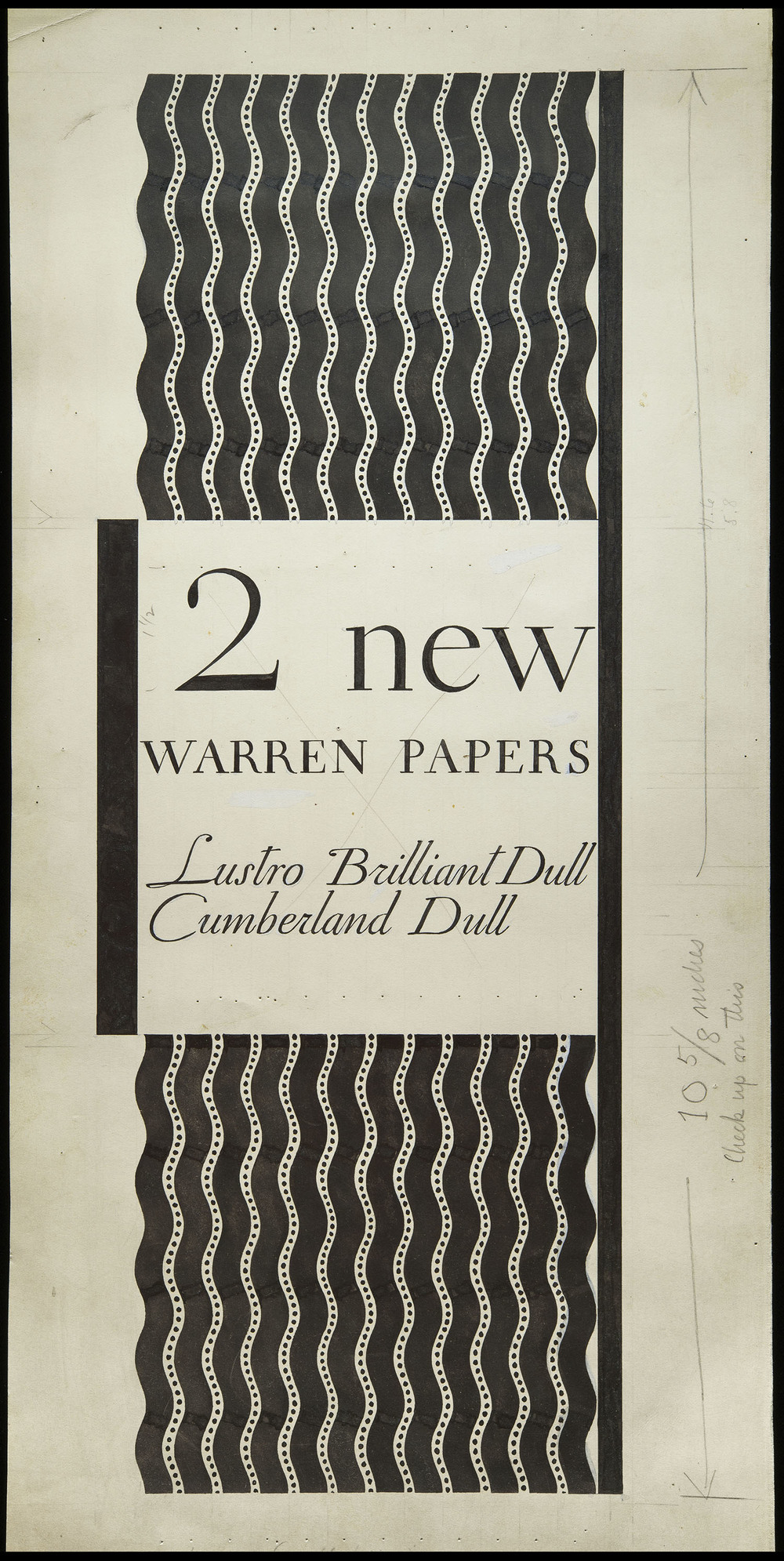 Original artwork, promotion for Warren's Paper, circa 1930, 21.5 x 44 cm