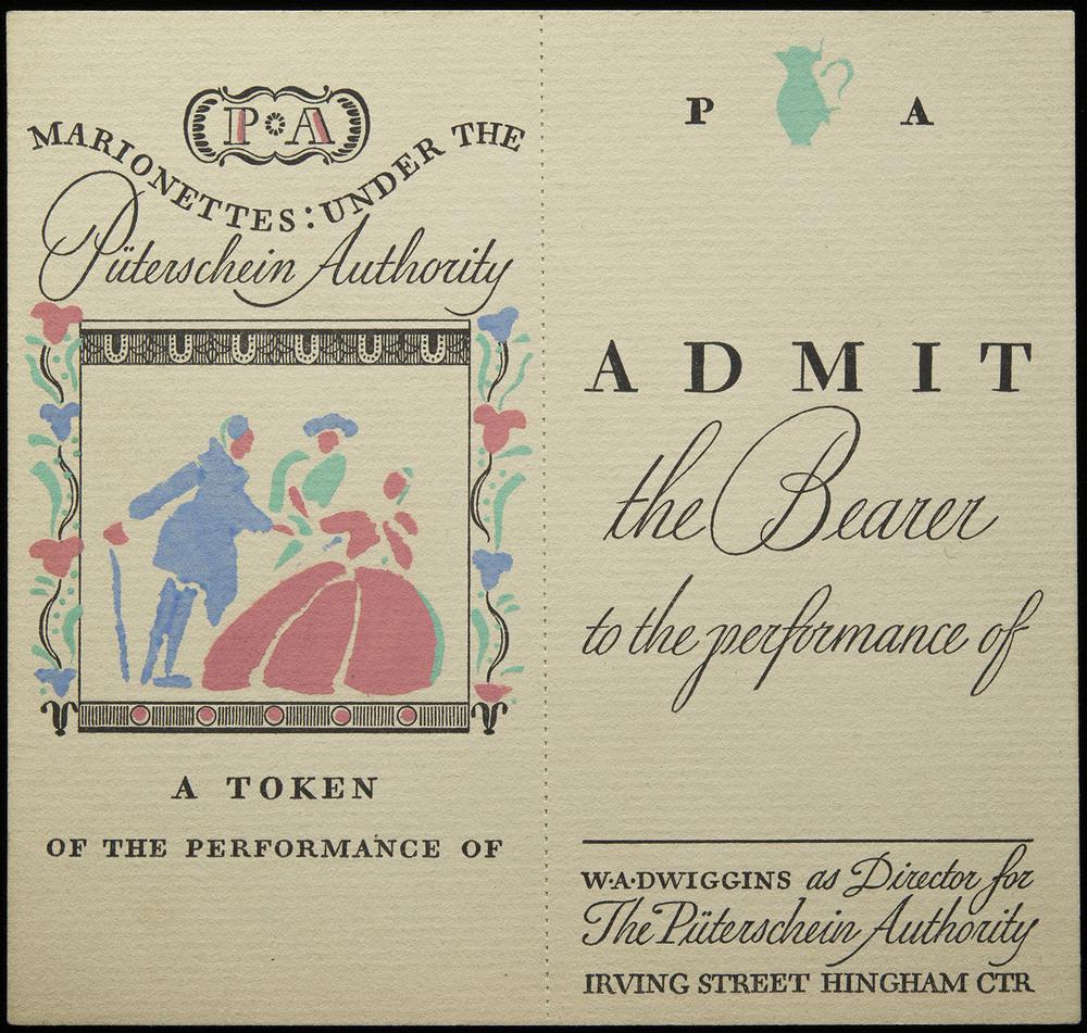 Pochoir printed ticket, circa 1935, 12 x 11.5 cm