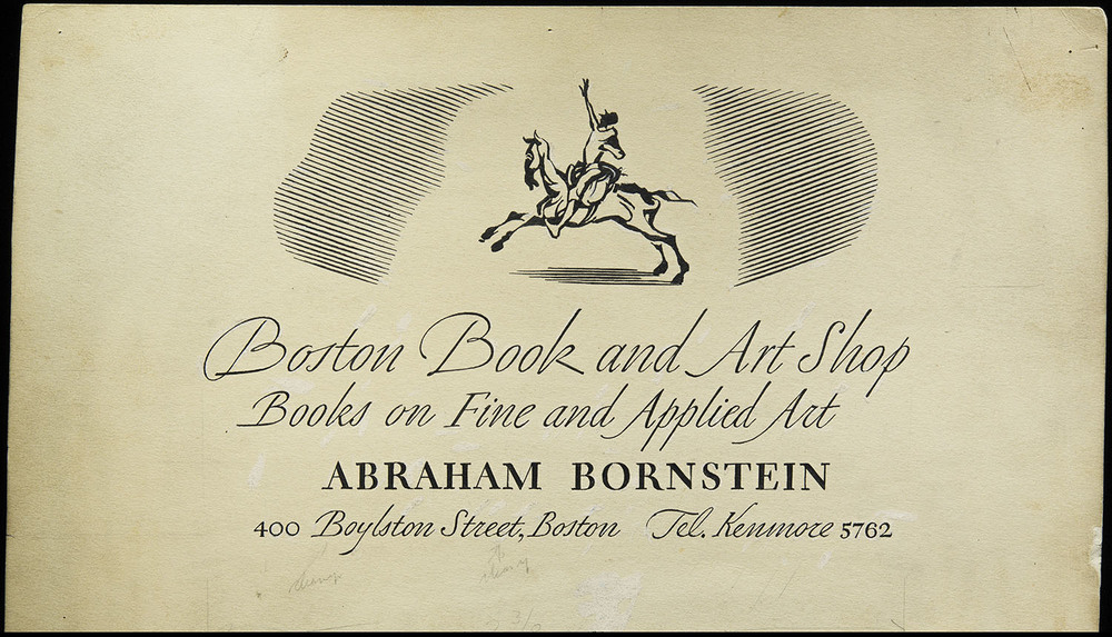 Original artwork for business card, Boston Book and Art Shop, circa 1935, 27 x 15 cm