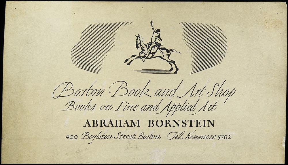 Original artwork for business card, Boston Book and Art Shop, circa 1935, 27 x 15 cm