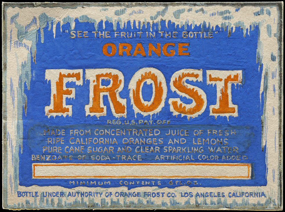 Hand painted label sketch, Lehmann Printing, San Francisco, circa 1930, 8.5 x 6.4 cm