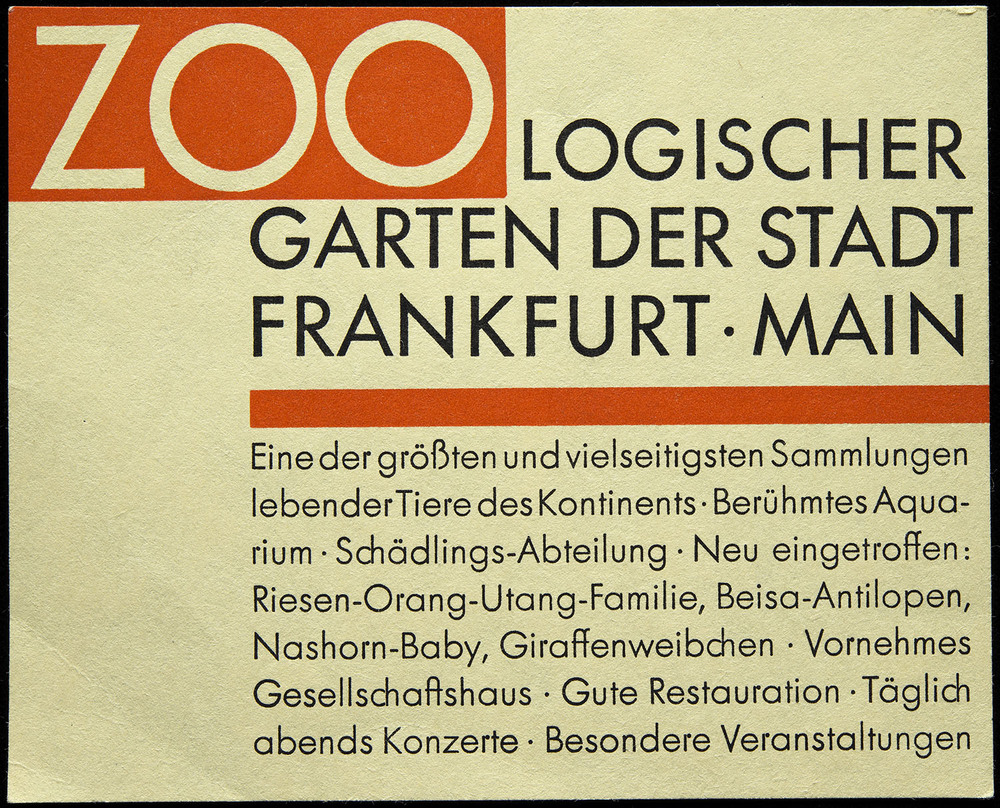 Paul Renner, example handbill included in the first specimen of  Futura , Bauersche Giesserei, Frankfurt, 1927, 11.8 x 9.5 cm