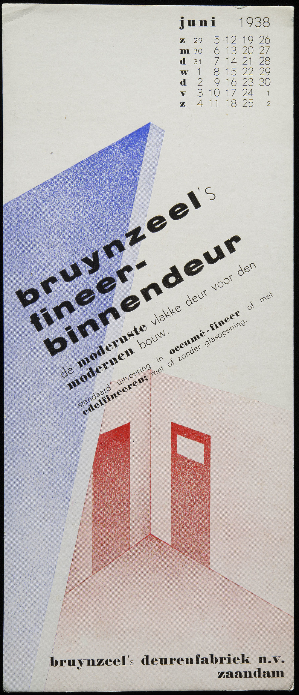 Piet Zwart, calendar blotter for Bruynzeel's Deurenfabriek, Zaandam, 1938, 9.5 x 21.8 cm