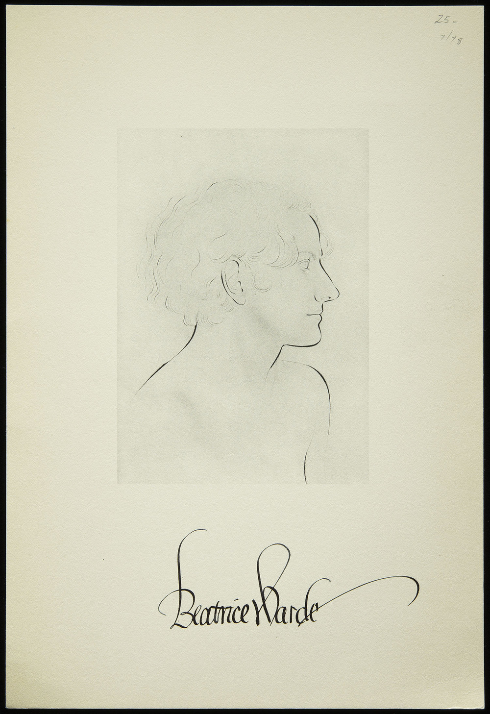 Eric Gill, Keepsake on the occasion of introducing Beatrice Warde to friends of Print , signed by Warde, Bethany CT, 1942, 16.5 x 24.3 cm