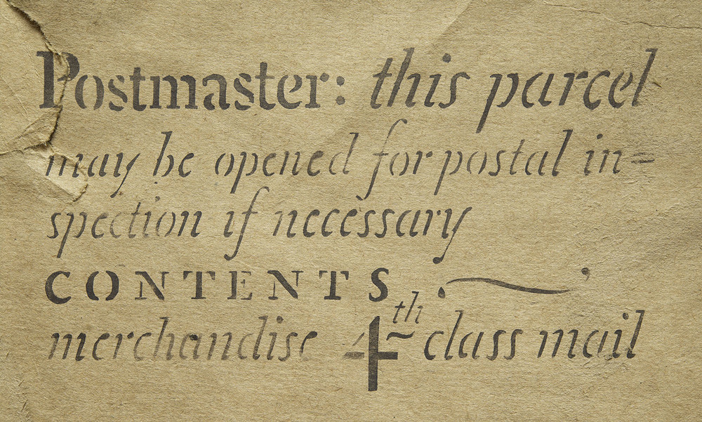 A stencilled mailing notice, 1951, 15 x 8 cm
