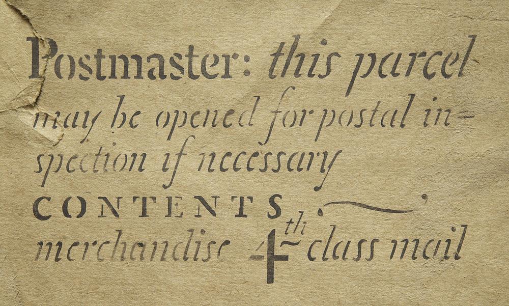 A stencilled mailing notice, 1951, 15 x 8 cm