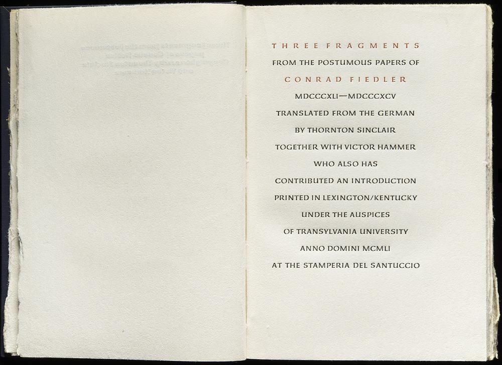 Victor Hammer,  Three Fragments  by Conrad Fiedler, Stamperia del Santuccio, Lexington KY, 1951, 29 x 21 cm