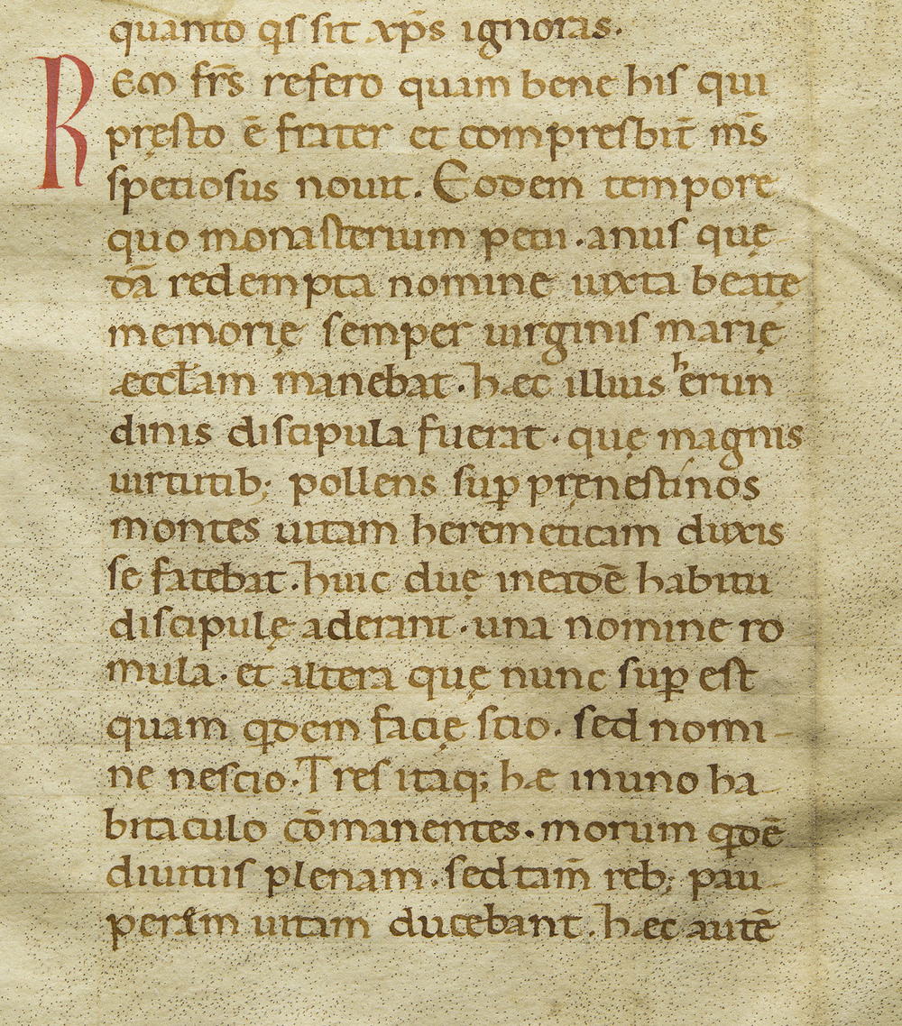 Detail of manuscript leaf in late Carolingian minuscule, unidentified latin devotional text, Northern Italy, circa 1120, 16 x 18 cm