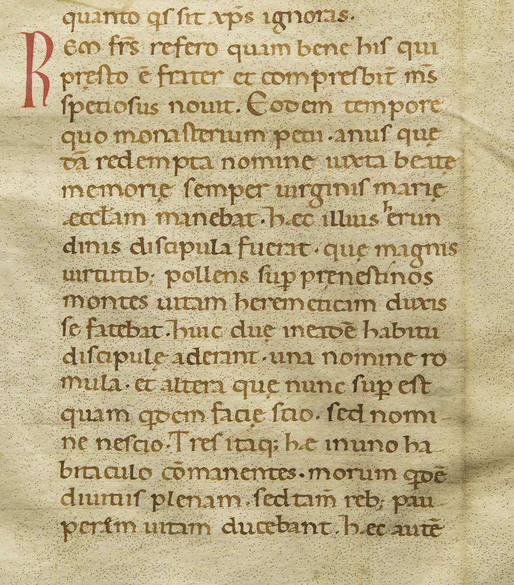 Detail of manuscript leaf in late Carolingian minuscule, unidentified latin devotional text, Northern Italy, circa 1120, 16 x 18 cm
