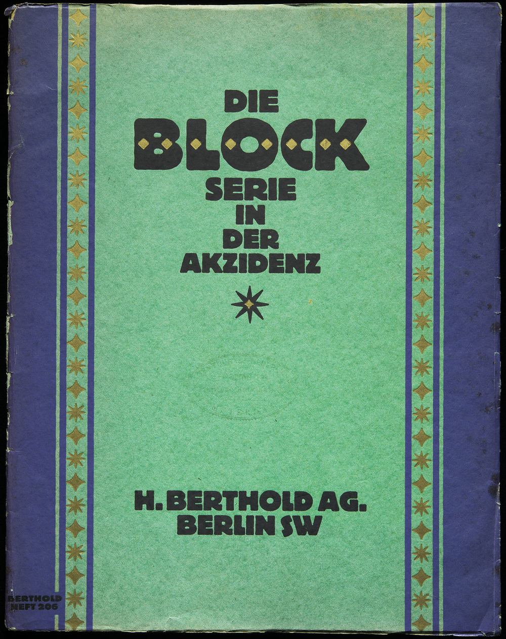 Hermann Hoffmann, specimen of  Block  series, Berthold, Berlin, 1921, 22.8 x 29.2 cm