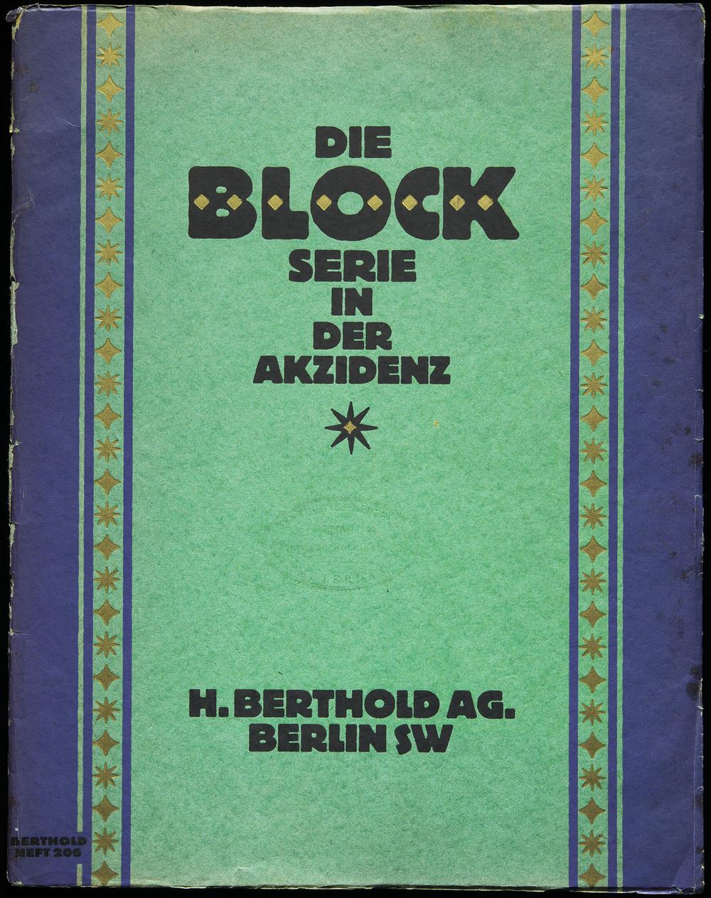 Hermann Hoffmann, specimen of  Block  series, Berthold, Berlin, 1921, 22.8 x 29.2 cm