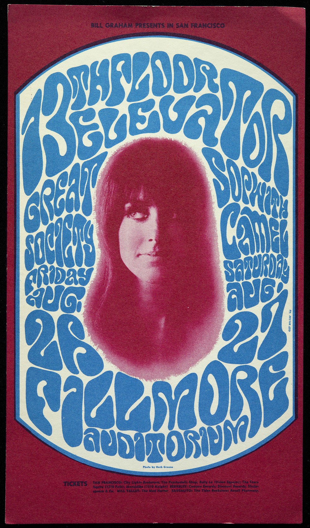Wes Wilson, Fillmore Auditorium handbill, Bill Graham, San Francisco, August 26-27, 1966, 12.5 x 21.6 cm