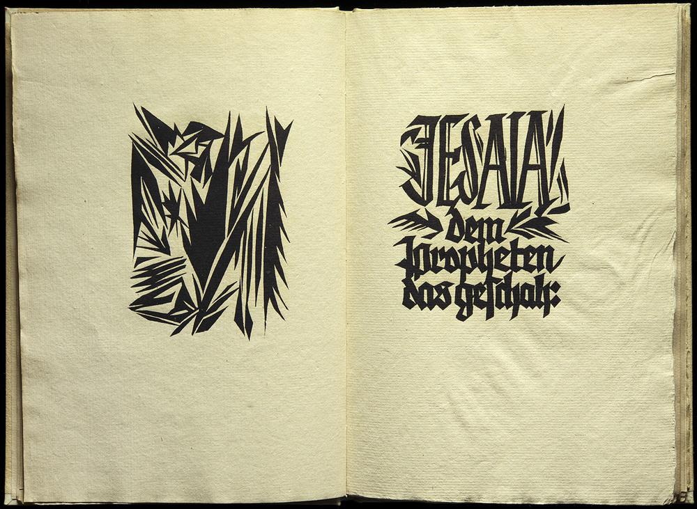 Rudolf Koch, Das Gesicht des Jesaia ,blockbook,Rudolfinischer Druck, Offenbach, 1919, 31 x 22.2 cm