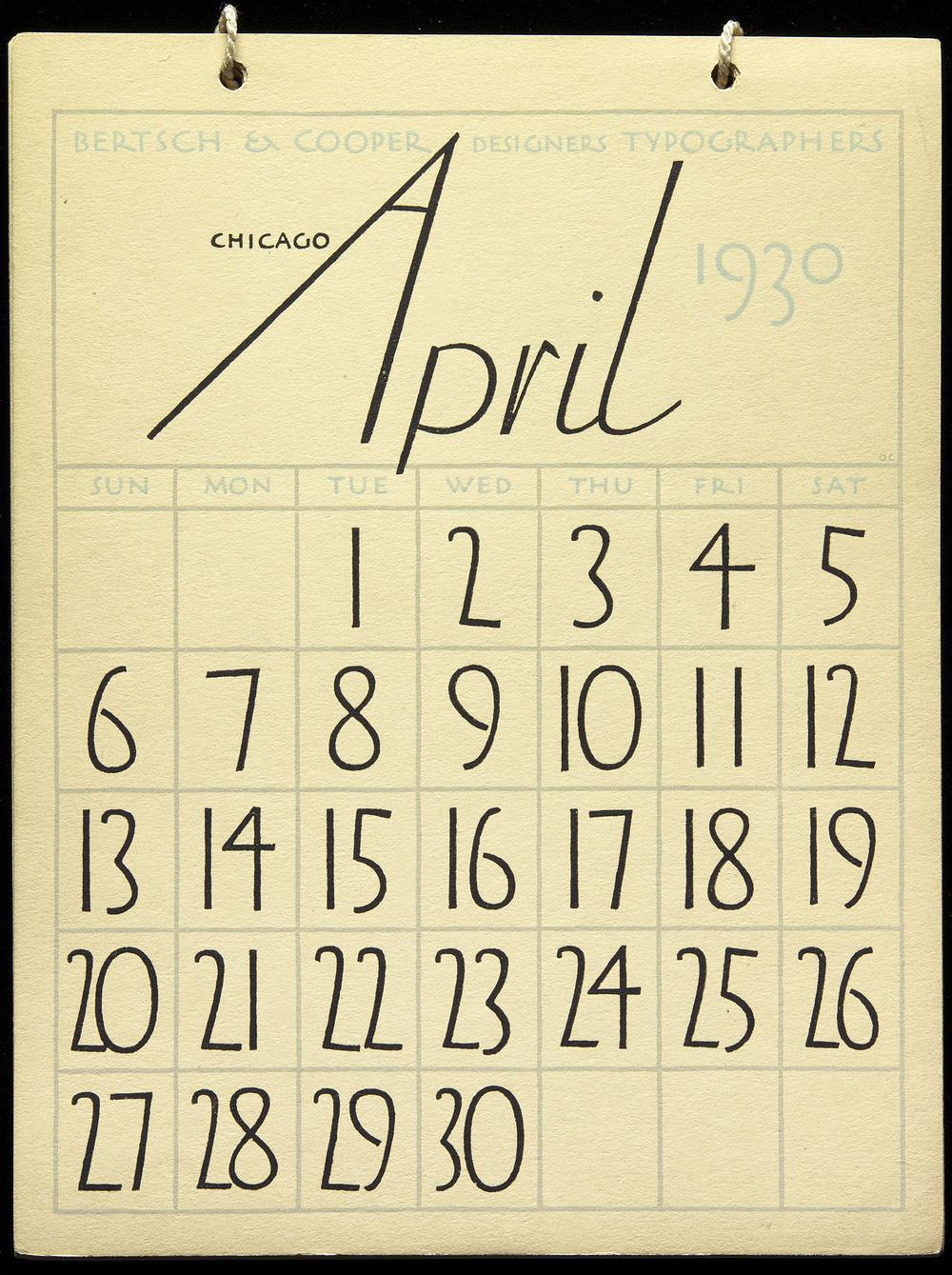 Oswald Cooper,  A Calendar for 1930 , Bertsch & Cooper, Chicago, 16.5 x 21.5 cm