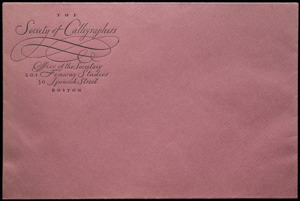 Envelope for The Society of Calligraphers, 1925, 23 x 15 cm